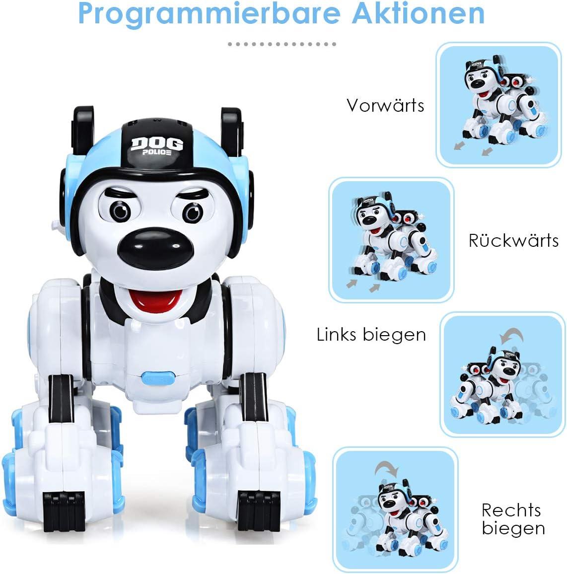 schie/ßt Roboterhund intelligent blinkt Hundespielzeug programmierbar Roboter-Spielzeug mit Musikfunktion Tanzt RC Interaktiv Roboter COSTWAY Ferngesteuert Hund Roboter