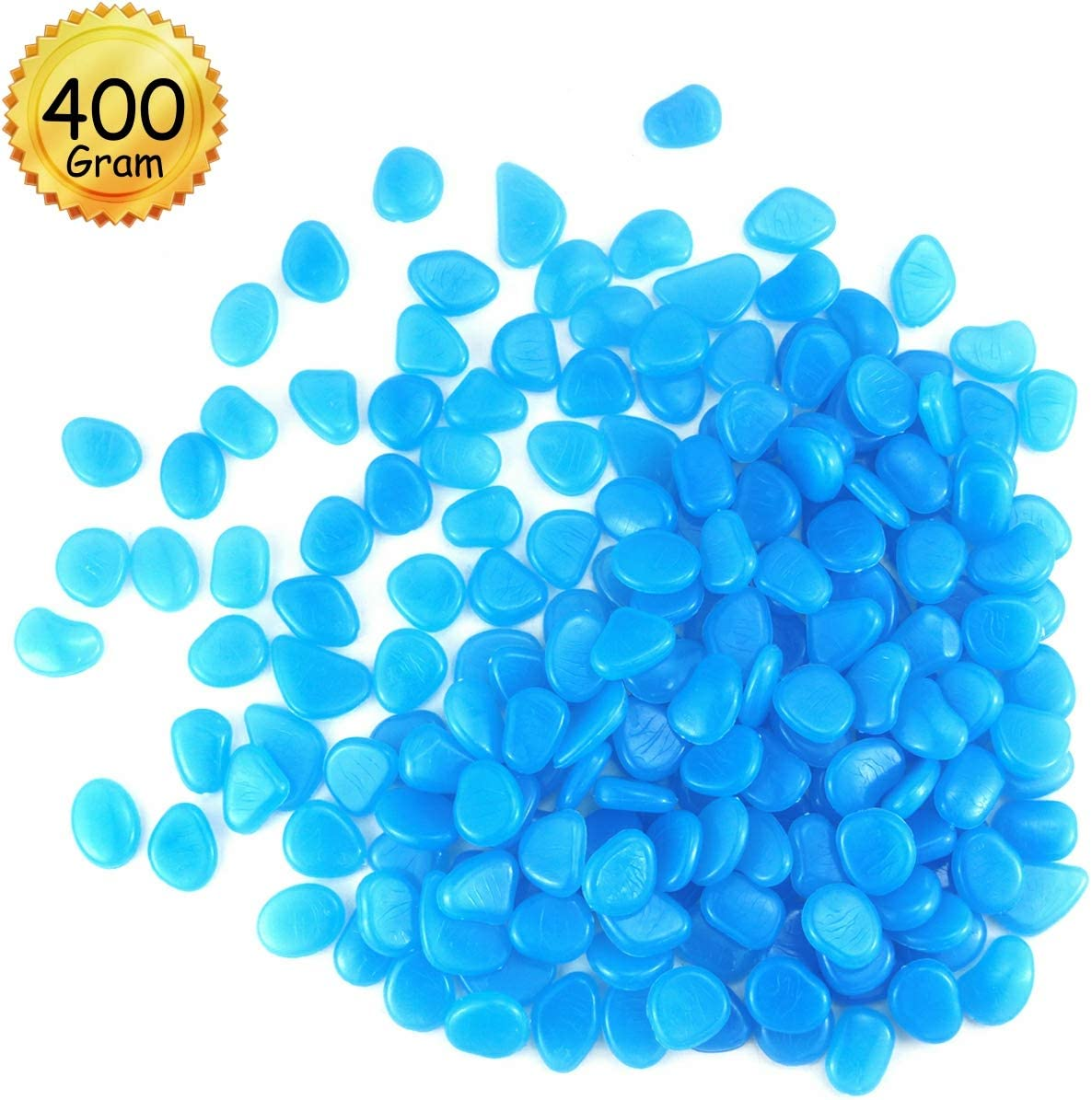 YG_Oline 200 Pcs Glow Blue(Glow in Dark) Fish Tank Rocks, Aquarium Decoration Kits, Blue Glowing Pebbles Stones for Garden Walkways, Plant Pots