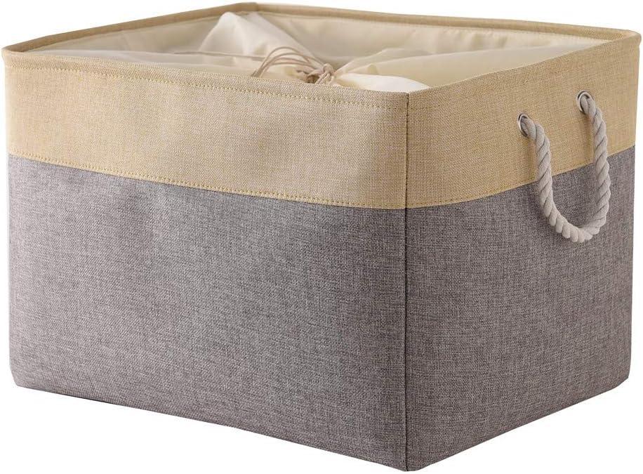 TheWarmHome Random Color Jumbo Basket Decorative Storage Basket Rectangular Fabric Storage Bin Organizer Basket with Handles for Clothes Storage (Grey Patchwork OR Grey Color, 20.5L×15.7W×13.8H)