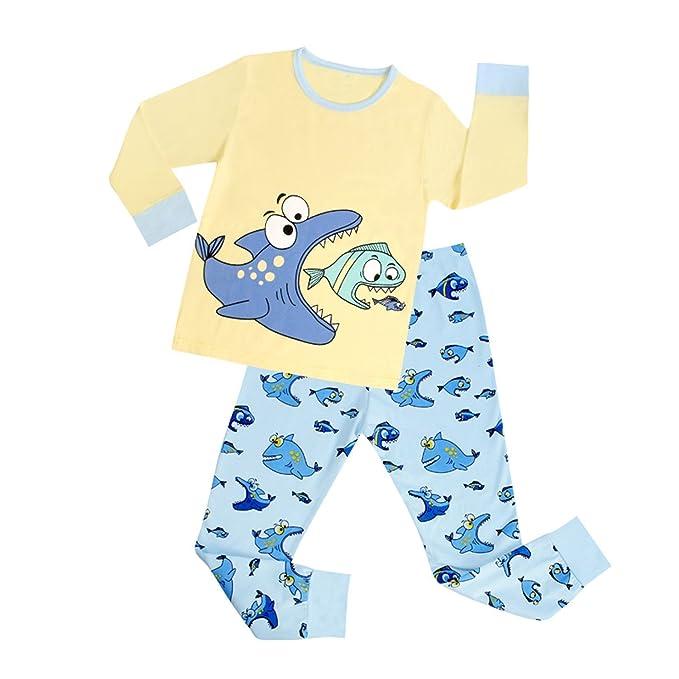 DAWILS Pijama para Niños - Manga Larga - Pijama dos piezas - Amarillo Pescado Pjs 2