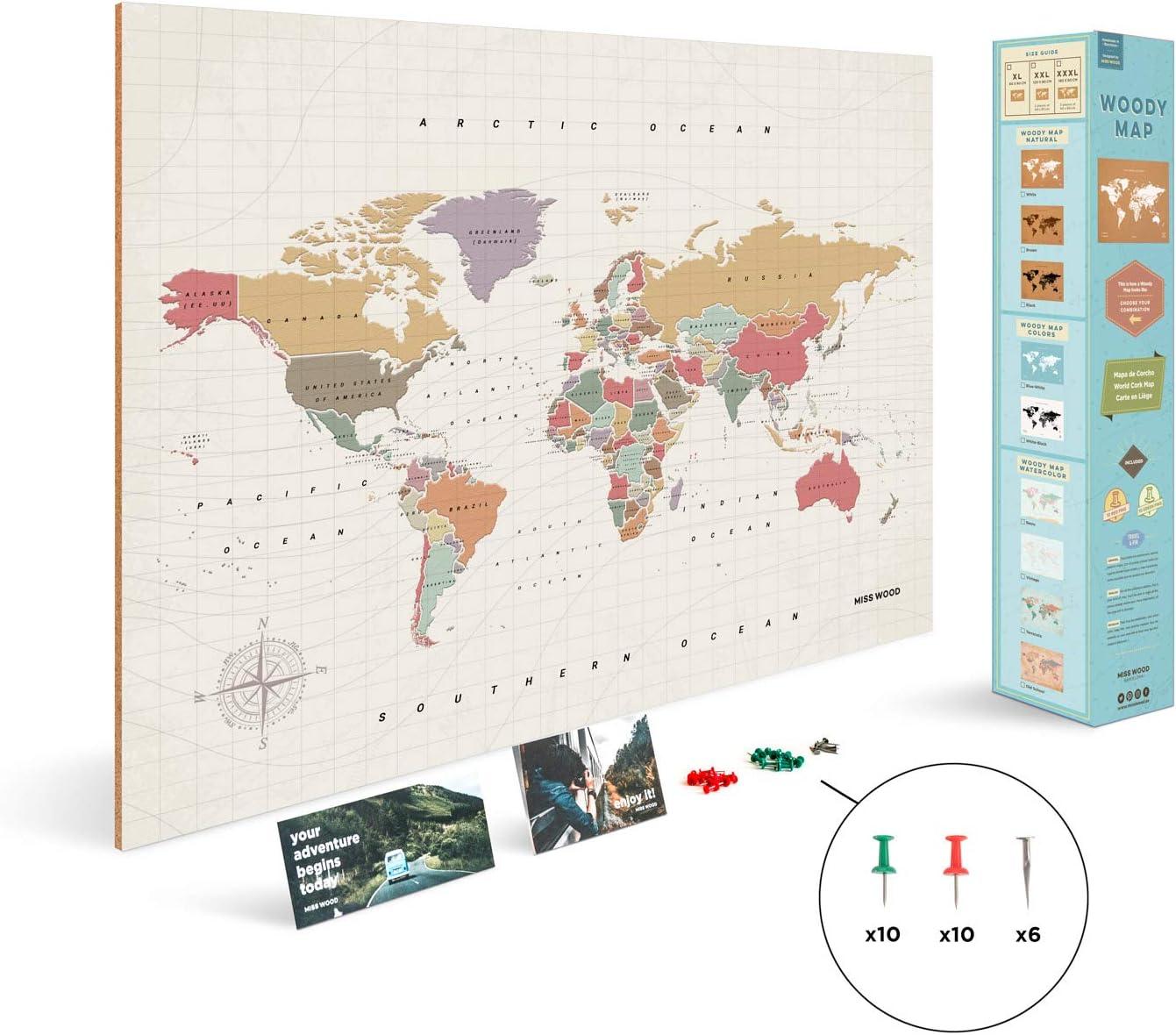 Miss Wood Tropical, Mapa del Mundo en Corcho, 90x60cm, XL (60 x 90 ...