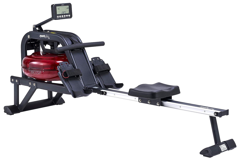 SportPlus Wasserrudergerät, 6-fach regulierbarer Wasserwiderstand, realistisches Rudergefühl, kugelgelagerter Rudersitz, hochwertiger Traningscomputer, Nutzergewicht bis 130kg, Sicherheit geprüft