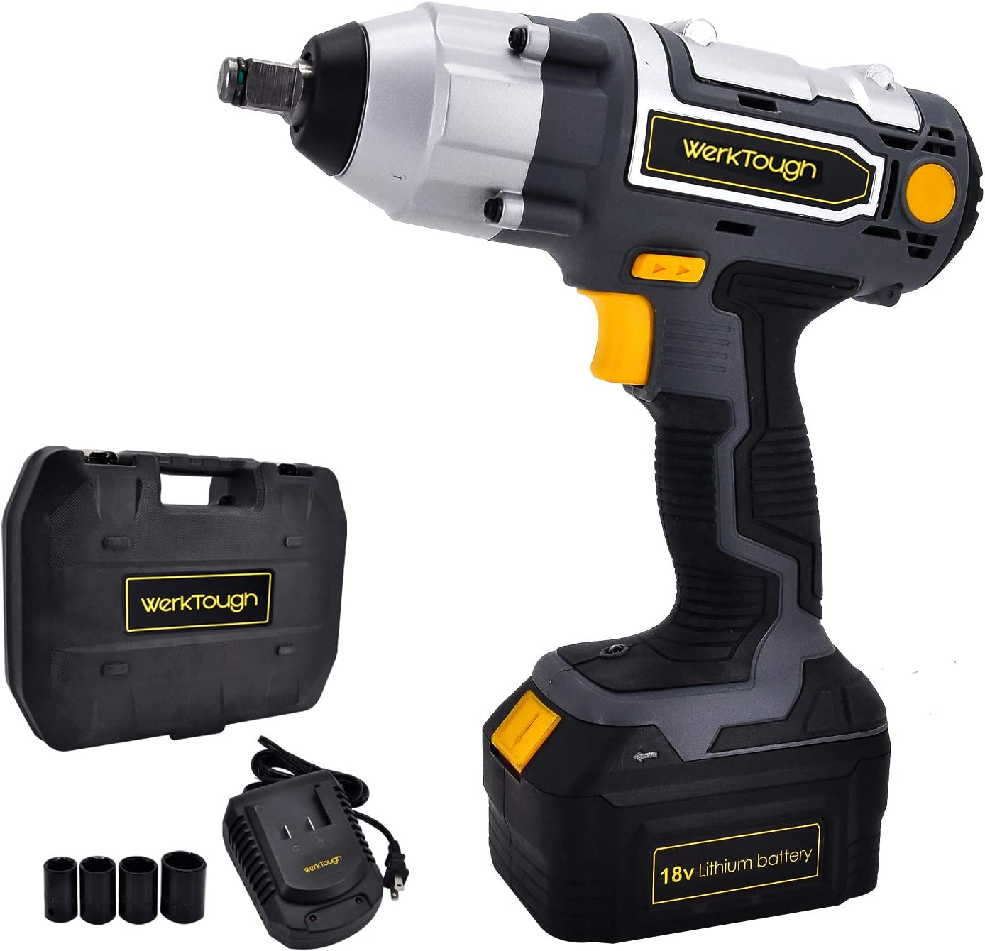 Uniteco 1 2 Cordless Impact Wrench Kit, 18V Battery Operated Impact Driver Tool with Carrying Case – High Torque 206ft-lbs