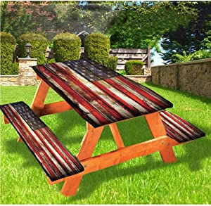 LEWIS FRANKLIN Shower curtain American Flag Picnic Table & Benches Cover, Vintage Wooden Elastic Edge Fitted Tablecloth,28 x 72 Inch, 3-Piece Set for Travel Christmas Picnics Parties Outdoor