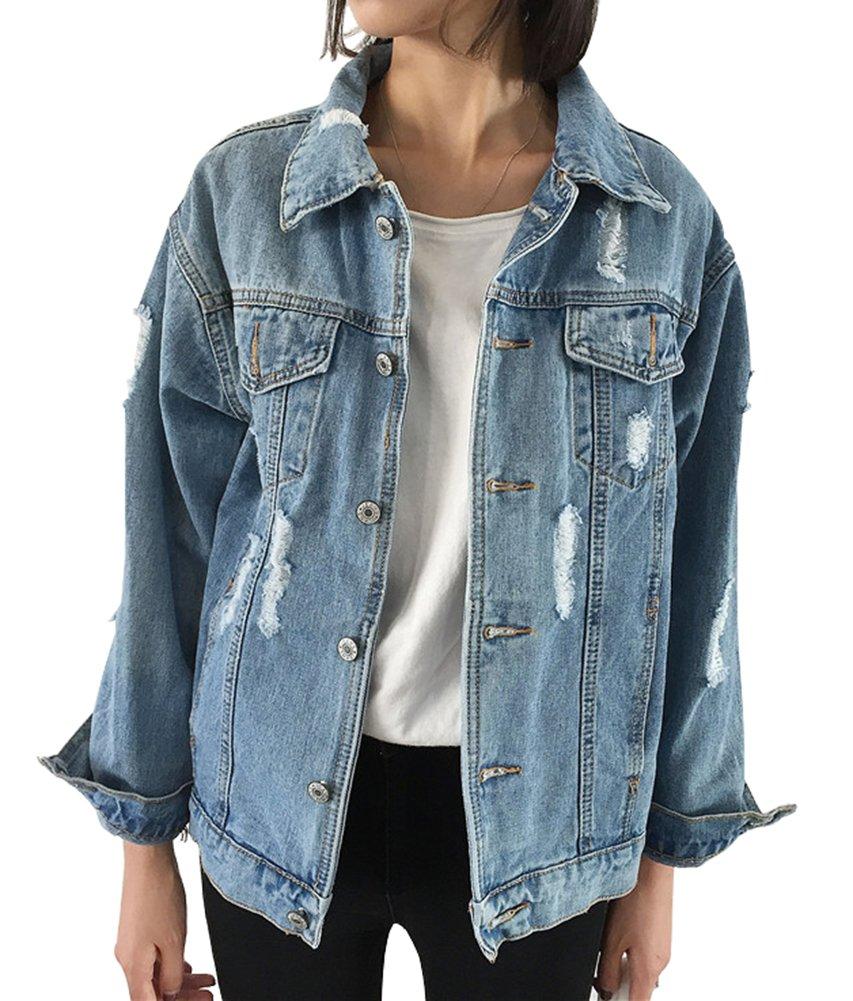 CozzyLife Women's Oversized Denim Jacket Ripped Jean Boyfriend Long Sleeve Coats (XXL)