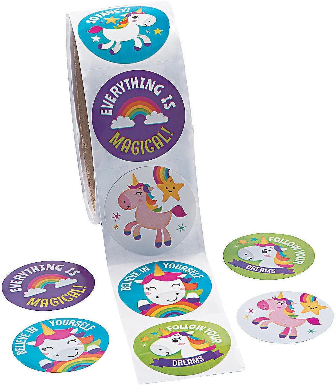 cancelleria Rotolo di adesivi a forma di unicorno rotolo da 100 pezzi adesivi Fun Express