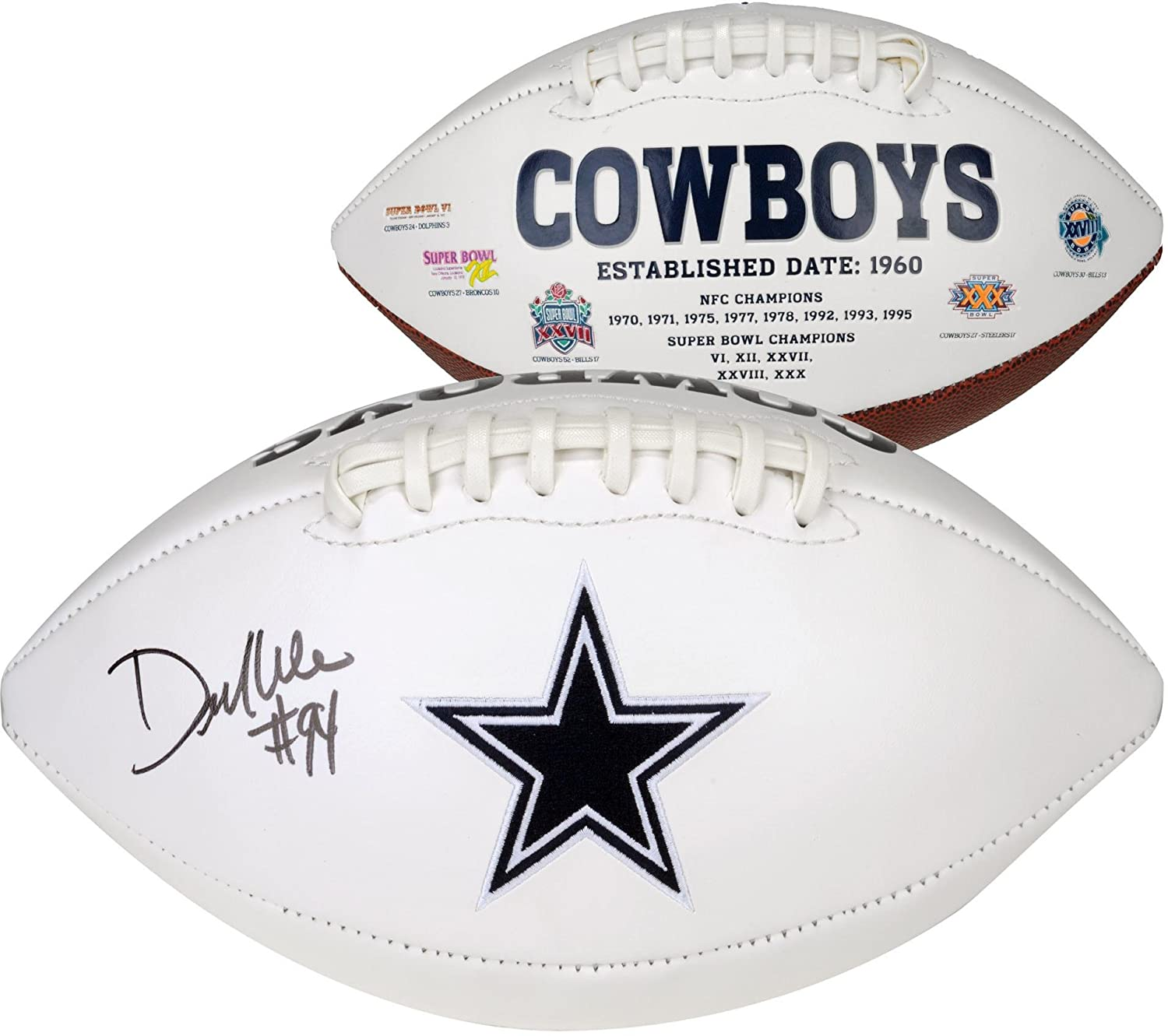 DeMarcus Ware Dallas Cowboys Autographed White Panel Football - Fanatics Authentic Certified - Autographed Footballs