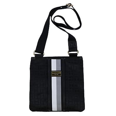 7403706700b Tommy Hilfiger Signature Stripe Crossbody Purse (Black): Handbags ...