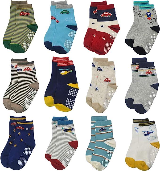 3-5 Years Toddler Boy Girl Socks Non Skid 12 Pairs Infant Baby Grips Socks Anti Skid Cotton Cute Cartoon Car Animals Kid Socks