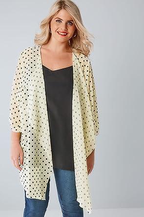 7637f109f9b YoursClothing Womens Lemon   Polka Dot Print Chiffon Kimono With Waterfall  Front