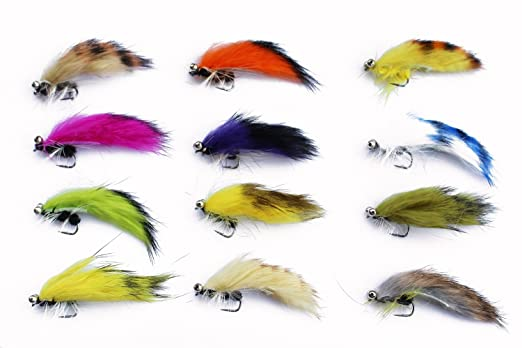 12 Pack Gold Head Red /& Orange Zonkers Zonker Trout Flies Mixed Size 8//10