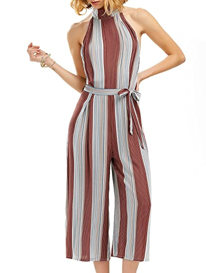 88a5bf2492e Amazon.com  OUMAL Women Summer Jumpsuits Halter Neck Striped Wide Leg  Backless Jumpsuits Rompers (XS