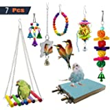 PINCHUANG 7 Packs Bird Swing Chewing Toys- Parrot Hammock Bell Toys Suitable for Small Parakeets, Cockatiels, Conures…