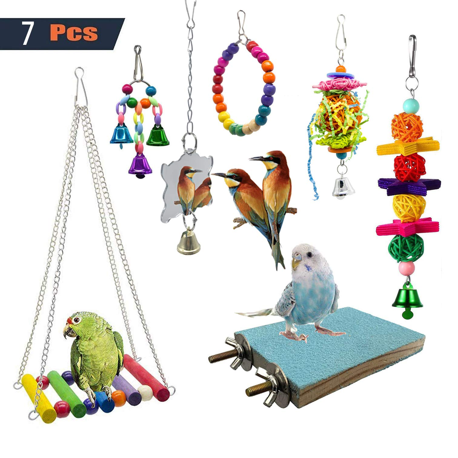 SHANTU 7 Packs Bird Swing Chewing Toys- Parrot Hammock Bell Toys Suitable for Small Parakeets, Cockatiels, Conures…