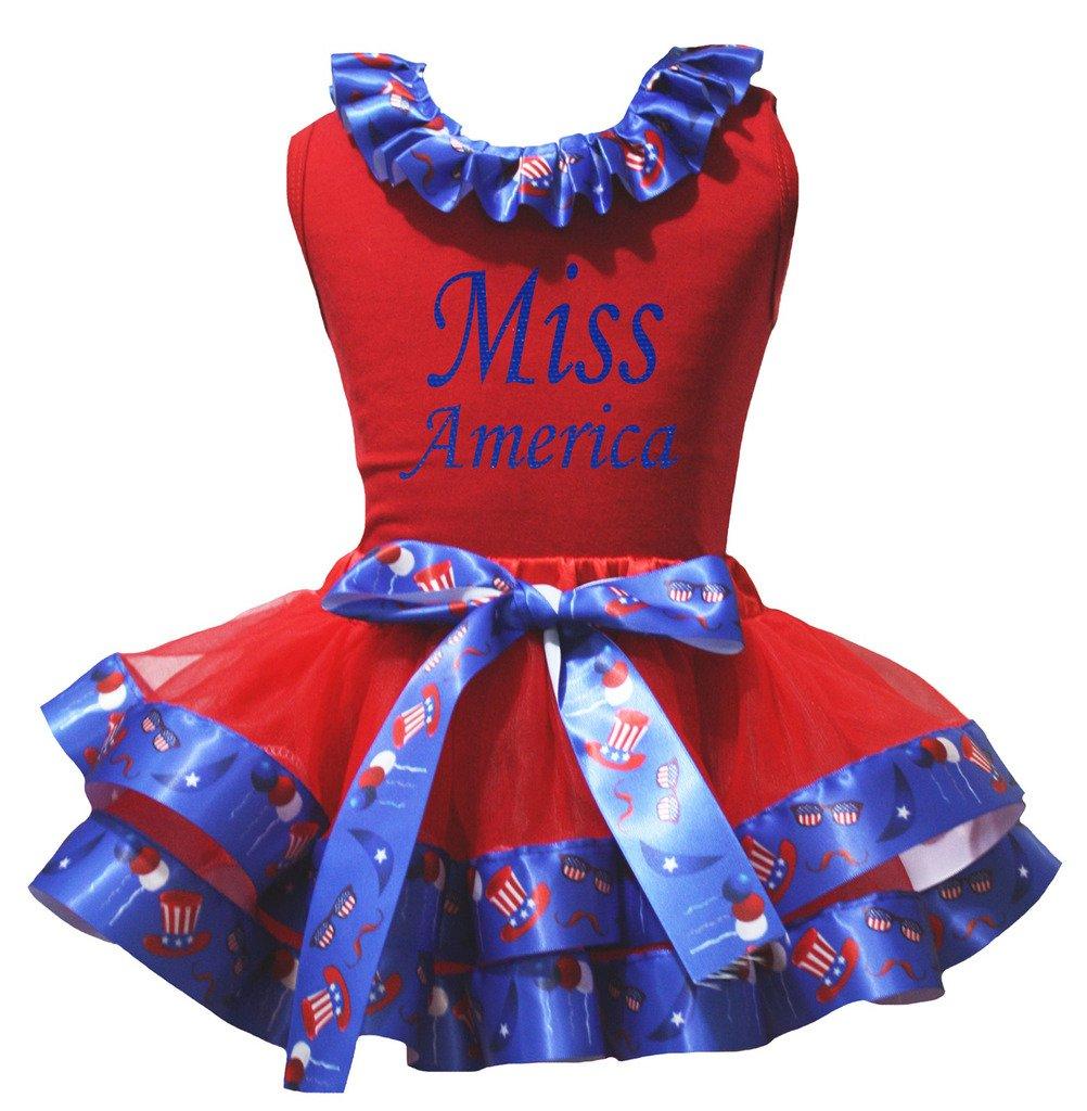 Petitebelle Camisa de julio cuarto de Miss América de EE.UU. Sombrero del pétalo de la falda de Nb-8y 1-3 años rojo