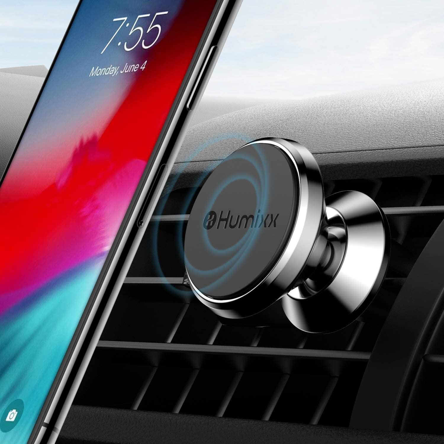 Magnetic Phone Mount for Car, Humixx Upgrated Gravity Hands-Free Super Magnetic Car Air Vent Phone Holder Compatible with iPhone SE 11 Pro Max XR Xs Max X 7 8 Plus/Samsung/Huawei/for Any Phone, Black