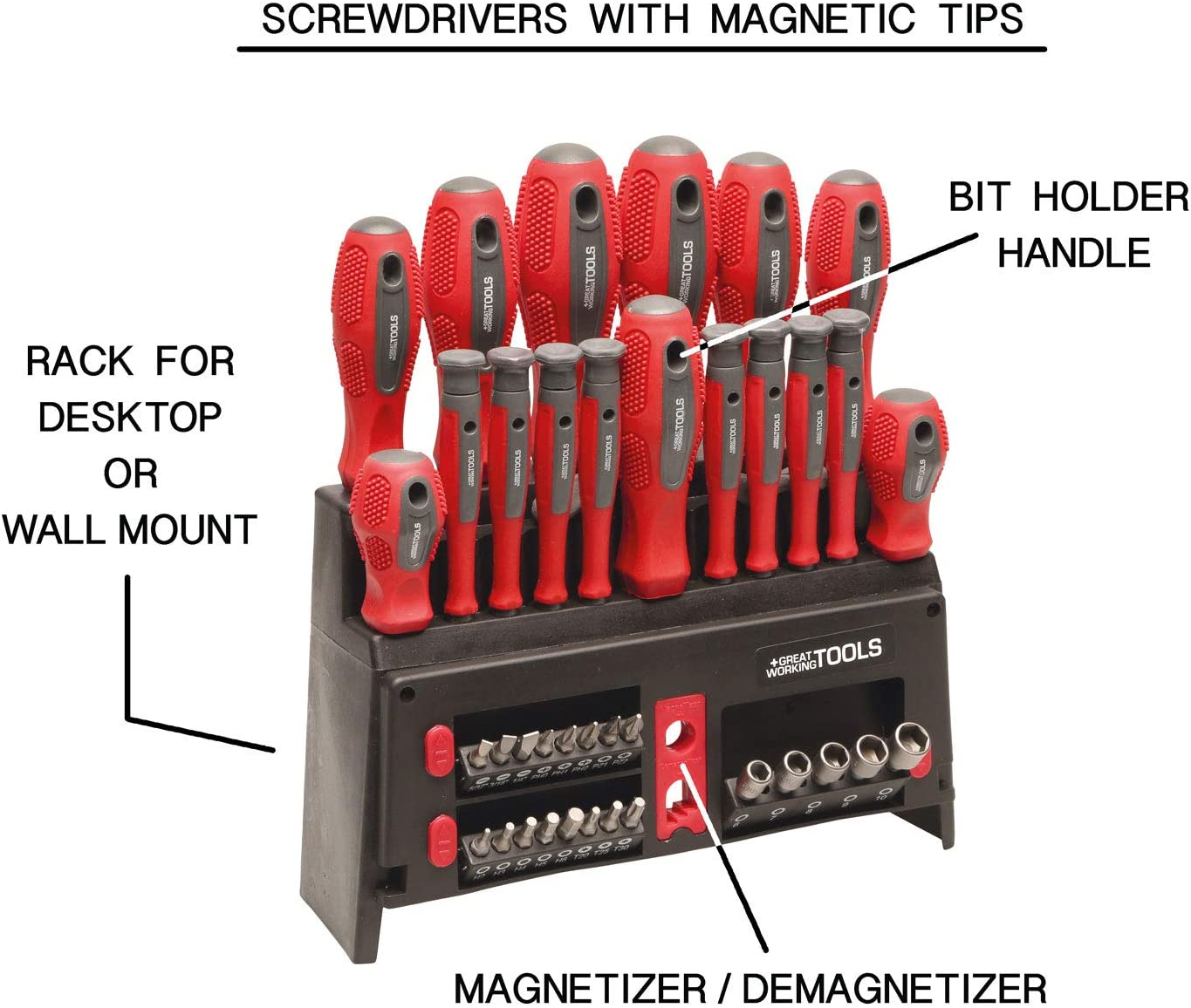 18 Pieces Storage Rack Chrome Vanadium Steel Blades Great Working Tools Multi-Piece Screwdriver Set Magnetic Tips