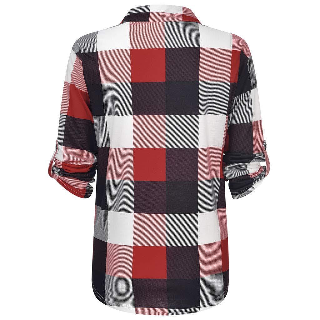 BELLA HXR Maglie A Manica Lunga Donna Tumblr Scollo V Classico Donna Camicia Sciolto Blusa Scozzese T-Shirt Elegante Felpe