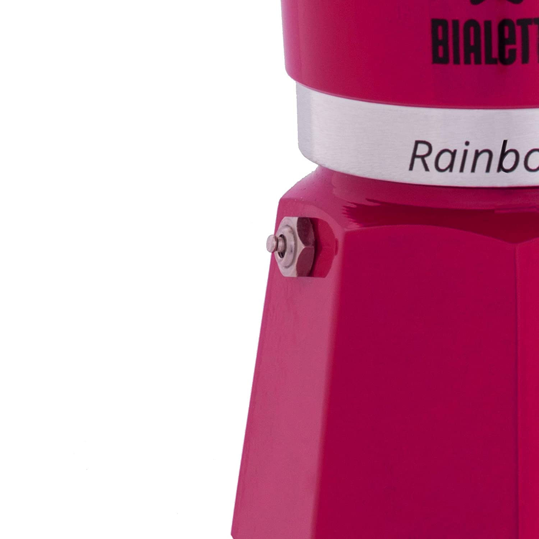 Aluminium Fuchsia Bialetti Rainbow Espresso Maker for 6 Cups 30 x 20 x 15 cm