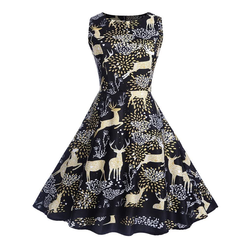 Yvelands Damen Weihnachtskleider, Weihnachten Sleeveless Hals Abenddruck Party Prom Swing Kleid Yvelands-Damen-Kleider-1031