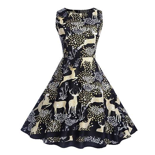Women Dresses Godathe Women Christmas Sleeveless Neck Evening Printing Party Prom Swing Dress S-2XL