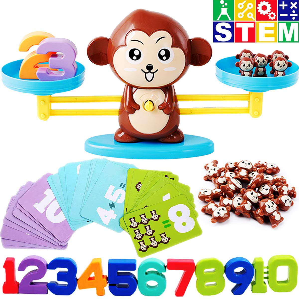 CozyBomB Monkey Balance Counting Toys Games - Math Educational Toddler STEM Toy for 3 4 5 Years Old Age Kindergarten - Number Learning Material for Boys and Girls