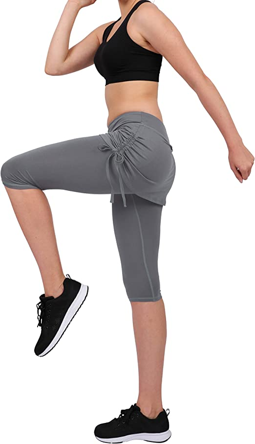 slimour Falda atlética para Mujer con Leggins Capri Leggings con ...