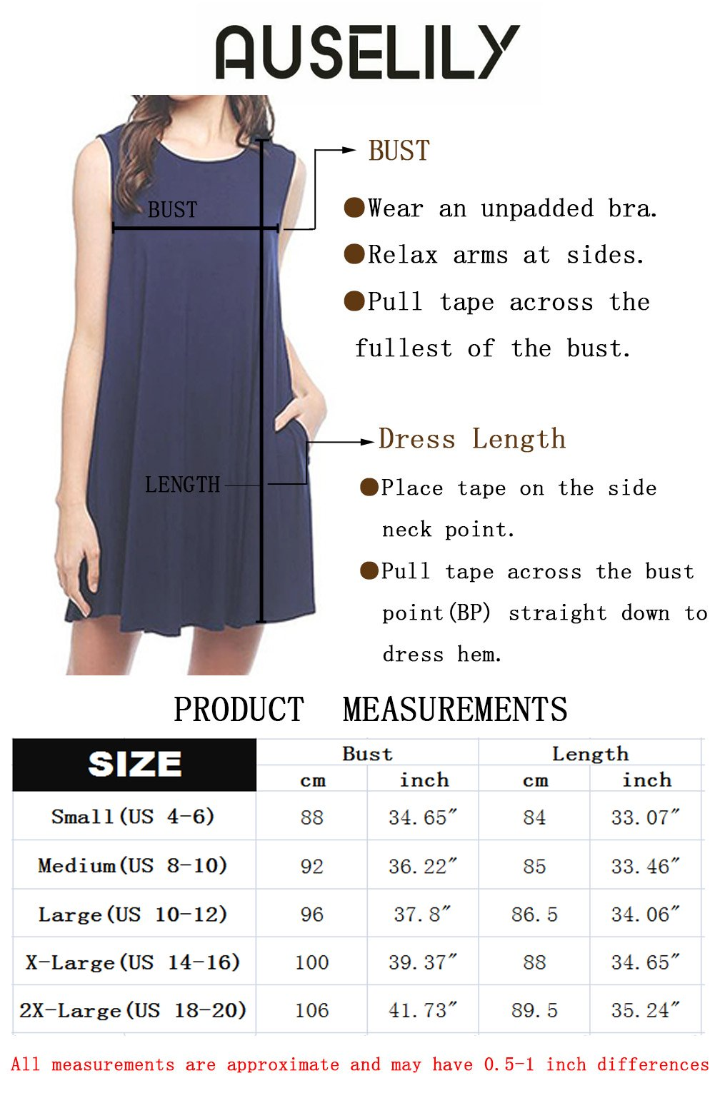 bc9ade00c07e AUSELILY Women s Casual Plain Simple Pocket T-Shirt Loose Dress Tank  Sundress (M