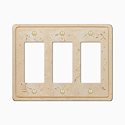 Faux Stone Triple 3 Rocker Gfci Wall Plate Cover Toasted Almond