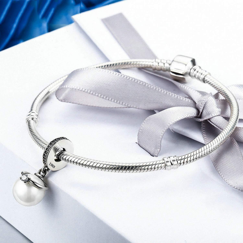 EverReena Pearl with Elegant CZ Stone Ring Dangle Silver Beads Bracelets