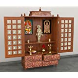 Wooden Temple / Home Mandir / Pooja Ghar/ Wood Temple With Cabinet and Door by Aarsun Woods