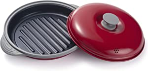 Maconee Microwave Grill Pan for Cooking, Baking, Nonstick Stir Fry Griddle Pan with Lid