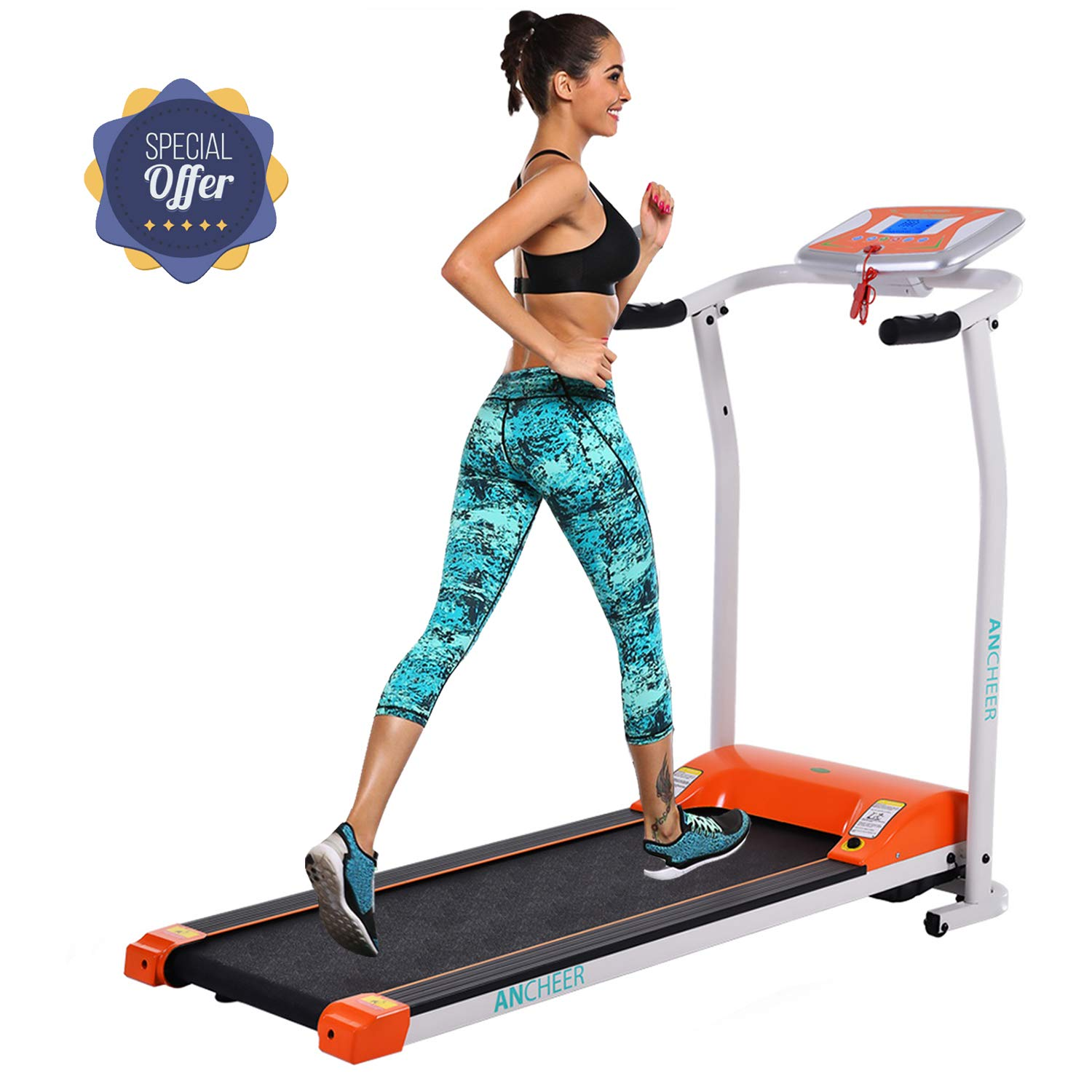 Folding Electric Treadmill Incline Motorized Running Machine Smartphone APP Control for Home Gym Exercise (Z-1.5 HP - Orange-Not with APP Control-Not Incline)