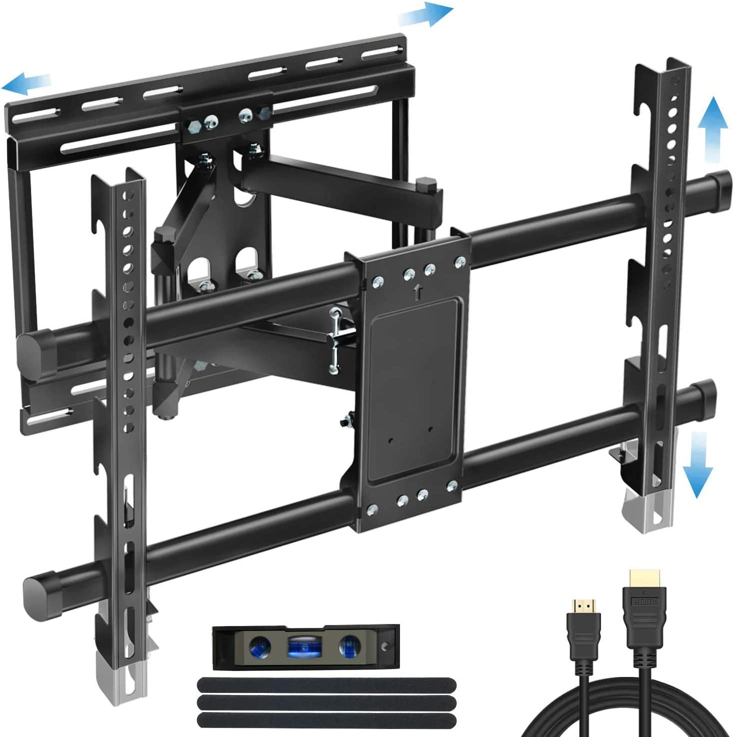 Full Motion TV Wall Mount Bracket-BLUE STONE Dual Swivel Articulating Arms with Sliding for 32-80 inch TVs up to 99lbsfor Flat Screen,LED,4K,Curved TVs with VESA 600x400mm