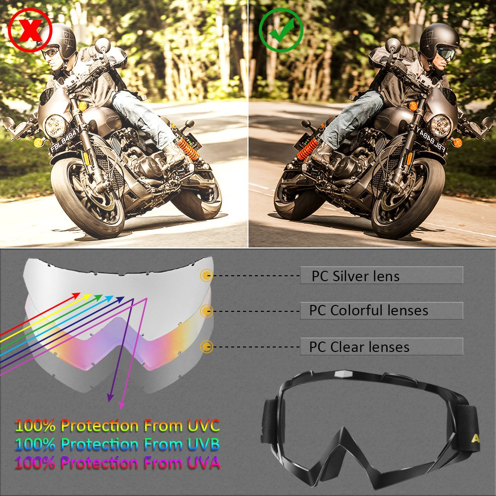 AULLY PARK Motorcycle Goggles, Dirt Bike Goggles Grip For Helmet, ATV Motocross Mx Goggles Glasses with 3 Lens Kit Fit for Men Women Youth Kids by AULLY PARK (Image #6)