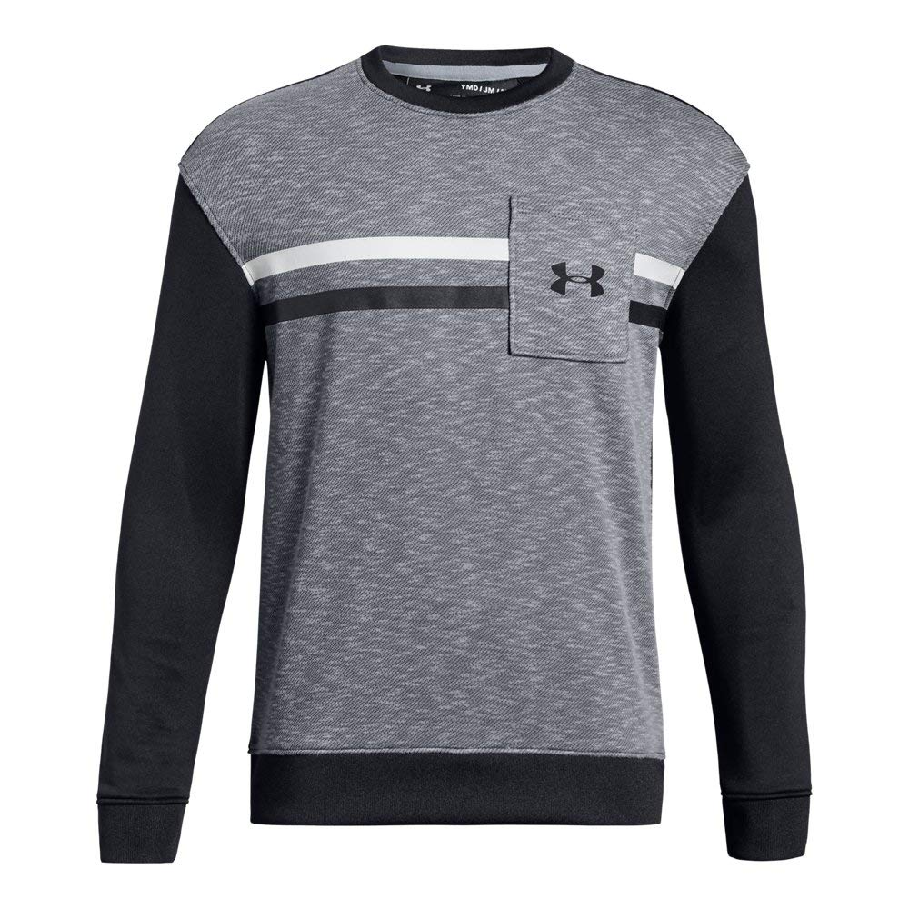 Under Armour Boys Huddle Up Terry Crew, Steel Light Heather (035)/Black, Youth Medium