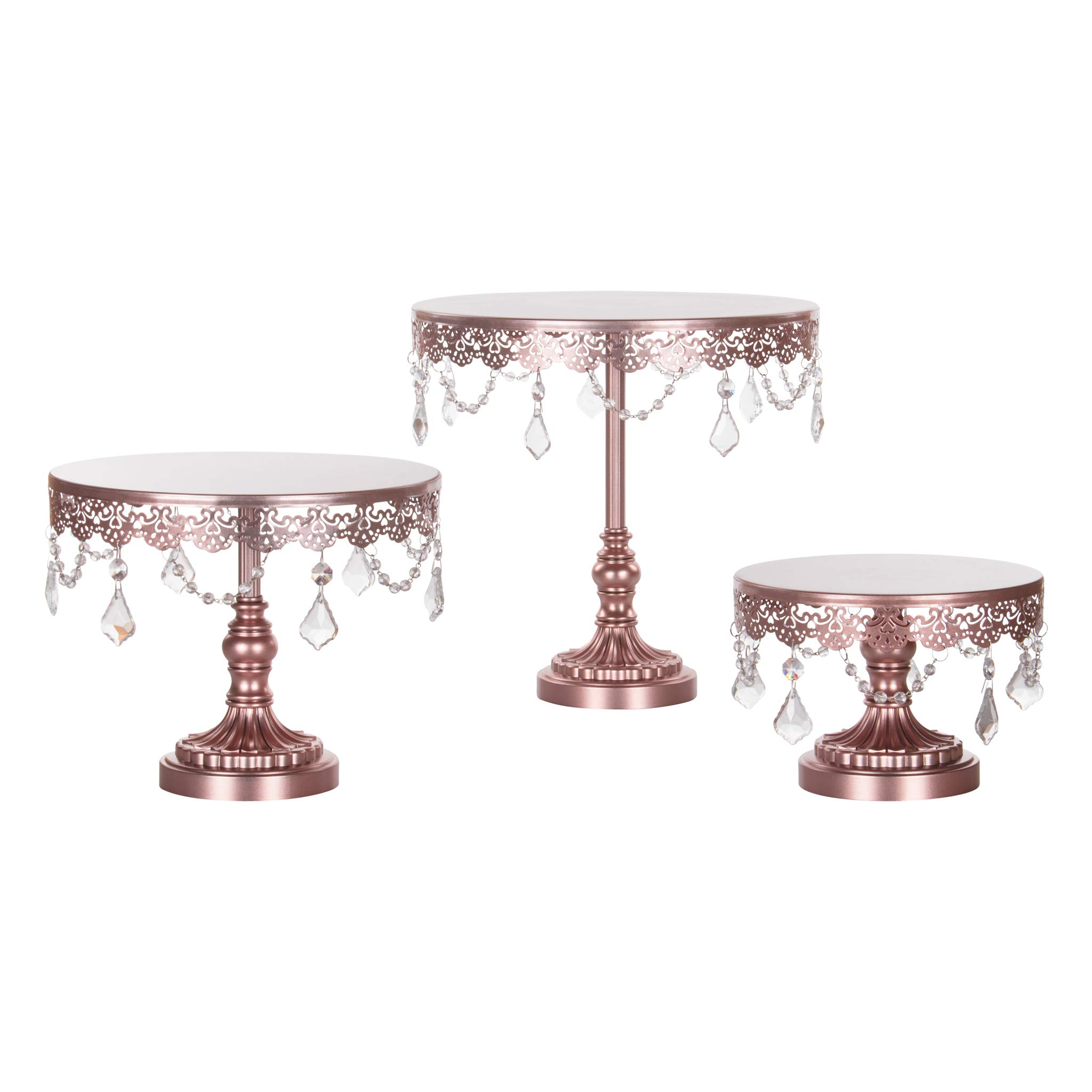 Sophia Cake Stand Set of 3, Round Metal Plate Dessert Cupcake Pedestal Wedding Party Display with Glass Crystals (Rose Gold)