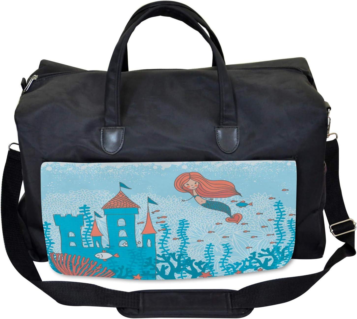 Cartoon Castle Corals Ambesonne Mermaid Gym Bag Large Weekender Carry-on