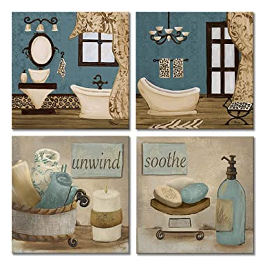 VIIVEI Bathroom Canvas Wall Art Prints Framed Ready to Hang Teal Blue Wall Decor Vintage Paintings Posters Great Gift Home Artwork (12 x12 , 09 Bathroom Decor)