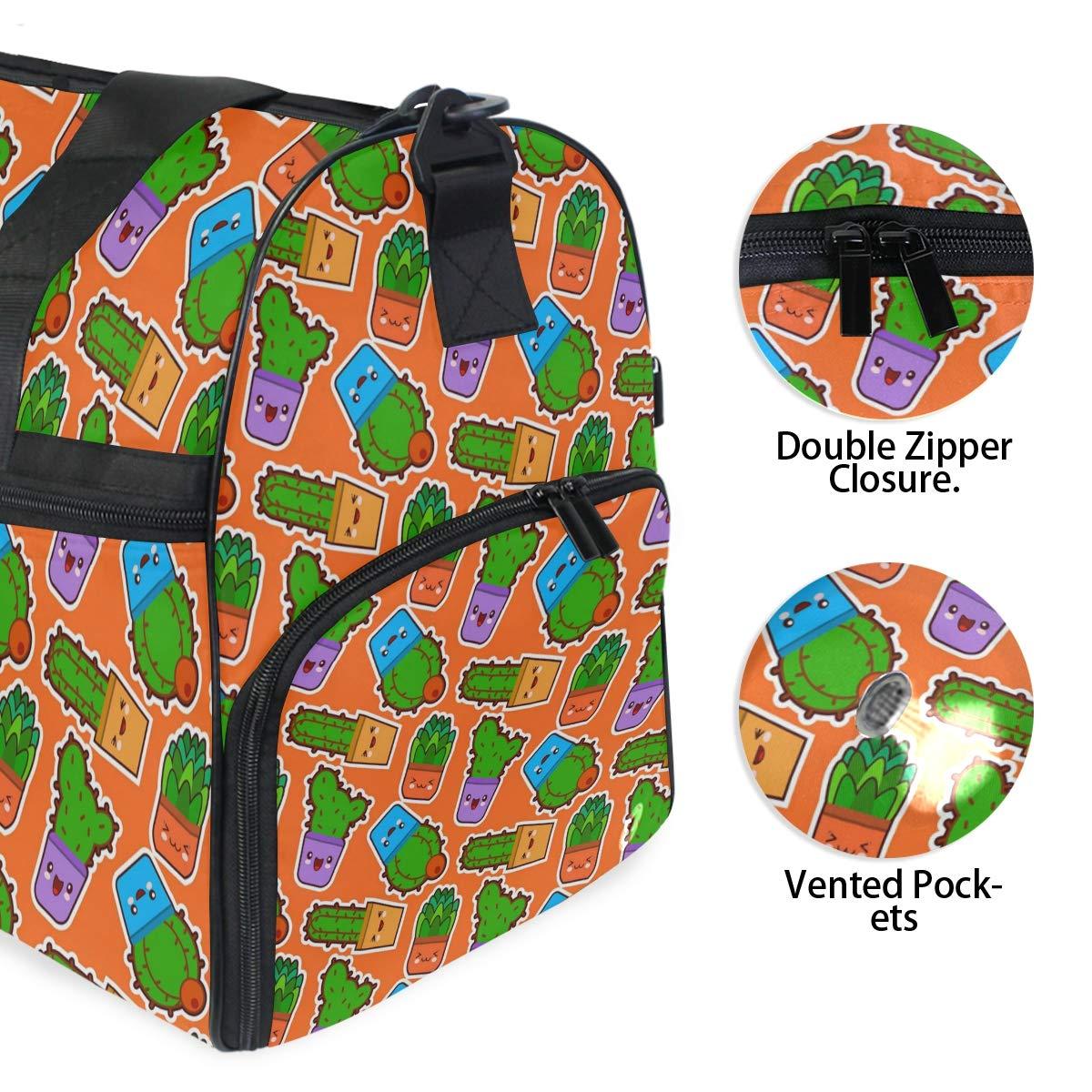 Orange Eye Green Cactus Large Travel Duffel Bag For Women Men Overnight Weekend Lightweight Luggage Bag