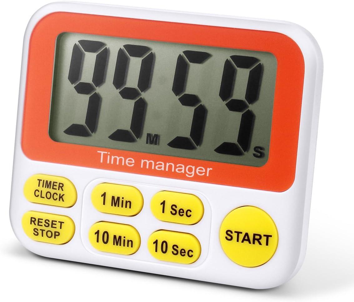 Minuteur de cuisine num/érique AIMILAR avec alarme grand /écran jaune