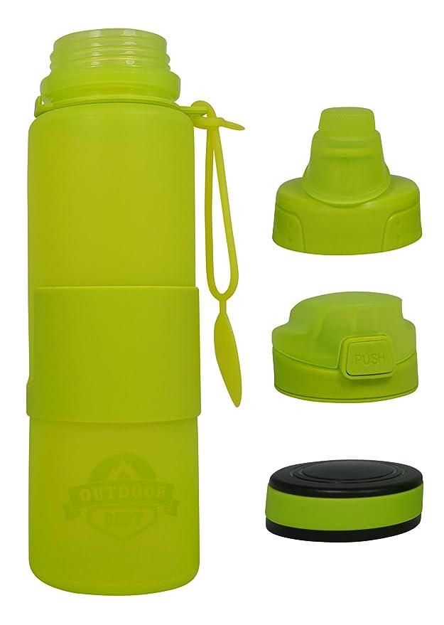 OUTDOOR DEPT Faltbare Silikon Trinkflasche, 3 Deckel, BPA frei, 650 ...