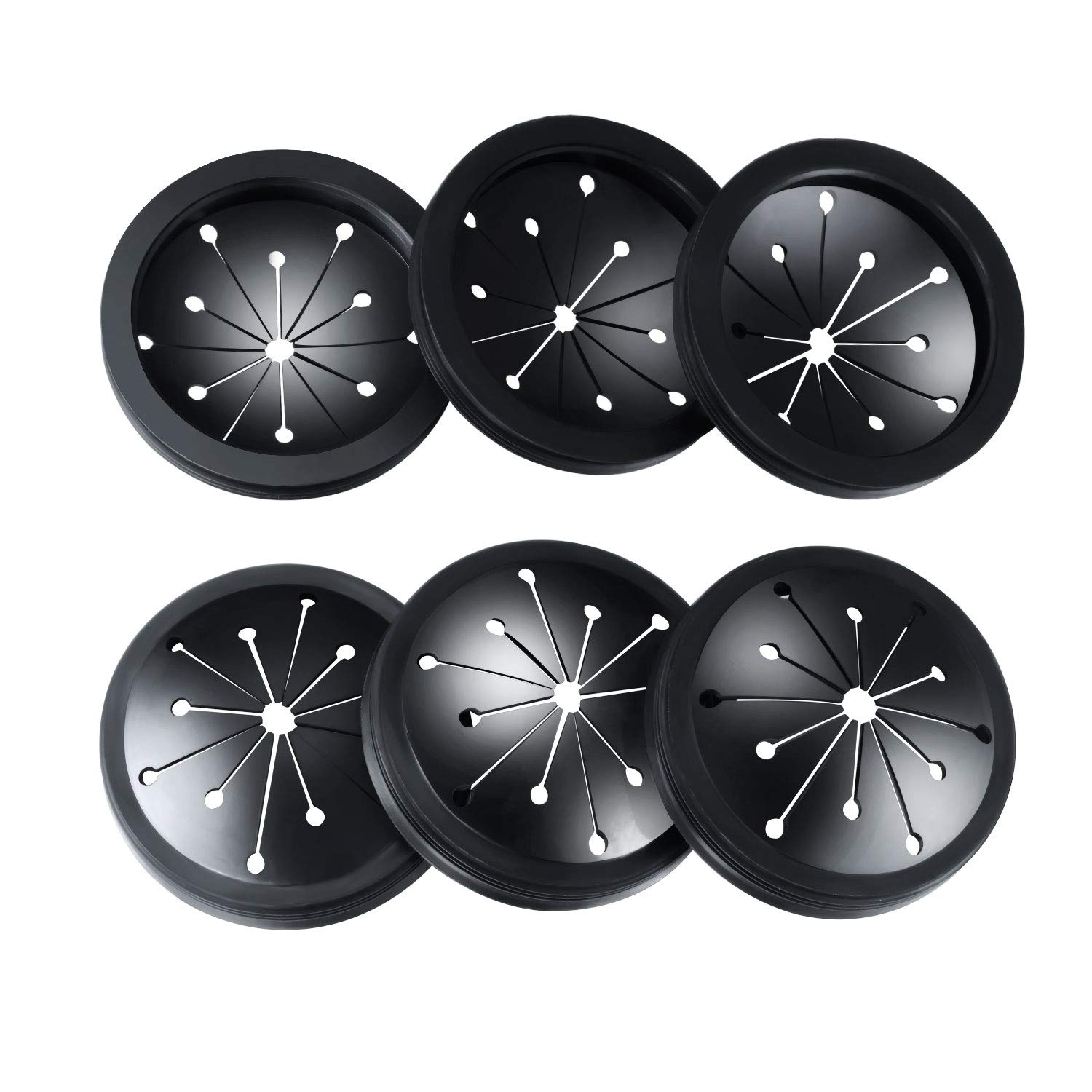 Canomo Disposal Splash Guard Sink Baffle Stopper Waste Food Disposal Part Fits for Whirlaway, Waste King, Sinkmaster and GE Models, 3-1/8 Inch, Black(6 Pack)