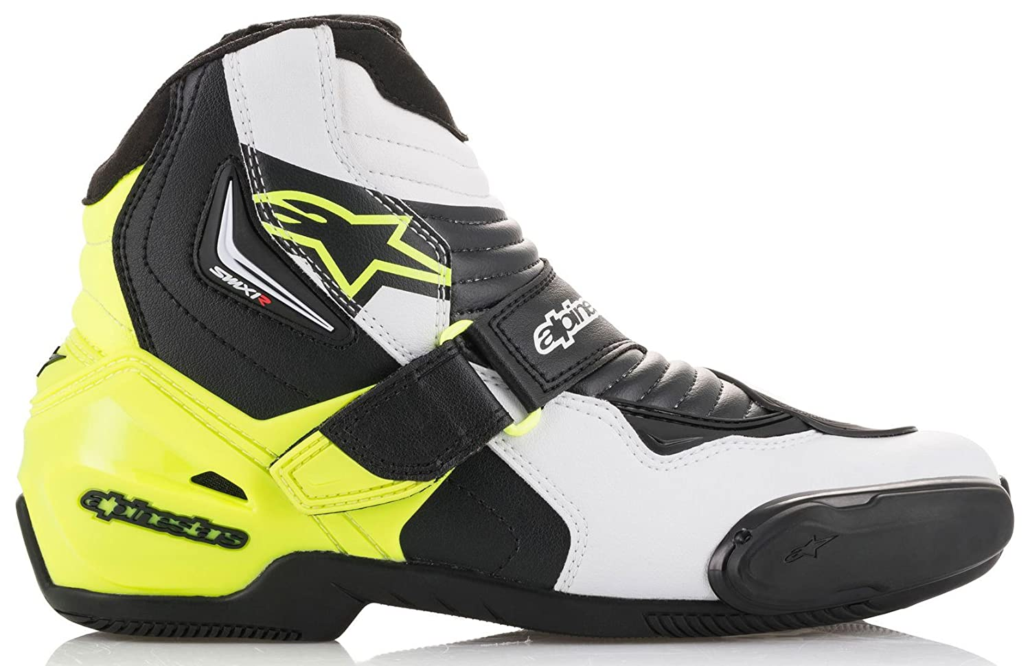 Motorcycle boots Smx-1 R Black White Yellow Fluo Alpinestars