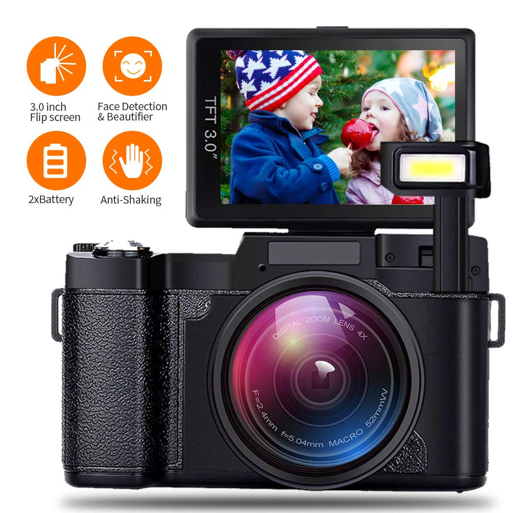AMKOV Video Camera Digital Camera Vlogging Camera 1080P Camcorder with 4X Zoom, 2 Rechargeable Batteries, 3 Inch 180°Camera Flip Screen Retractable Flashlight Easy Operation to Seniors/Kids