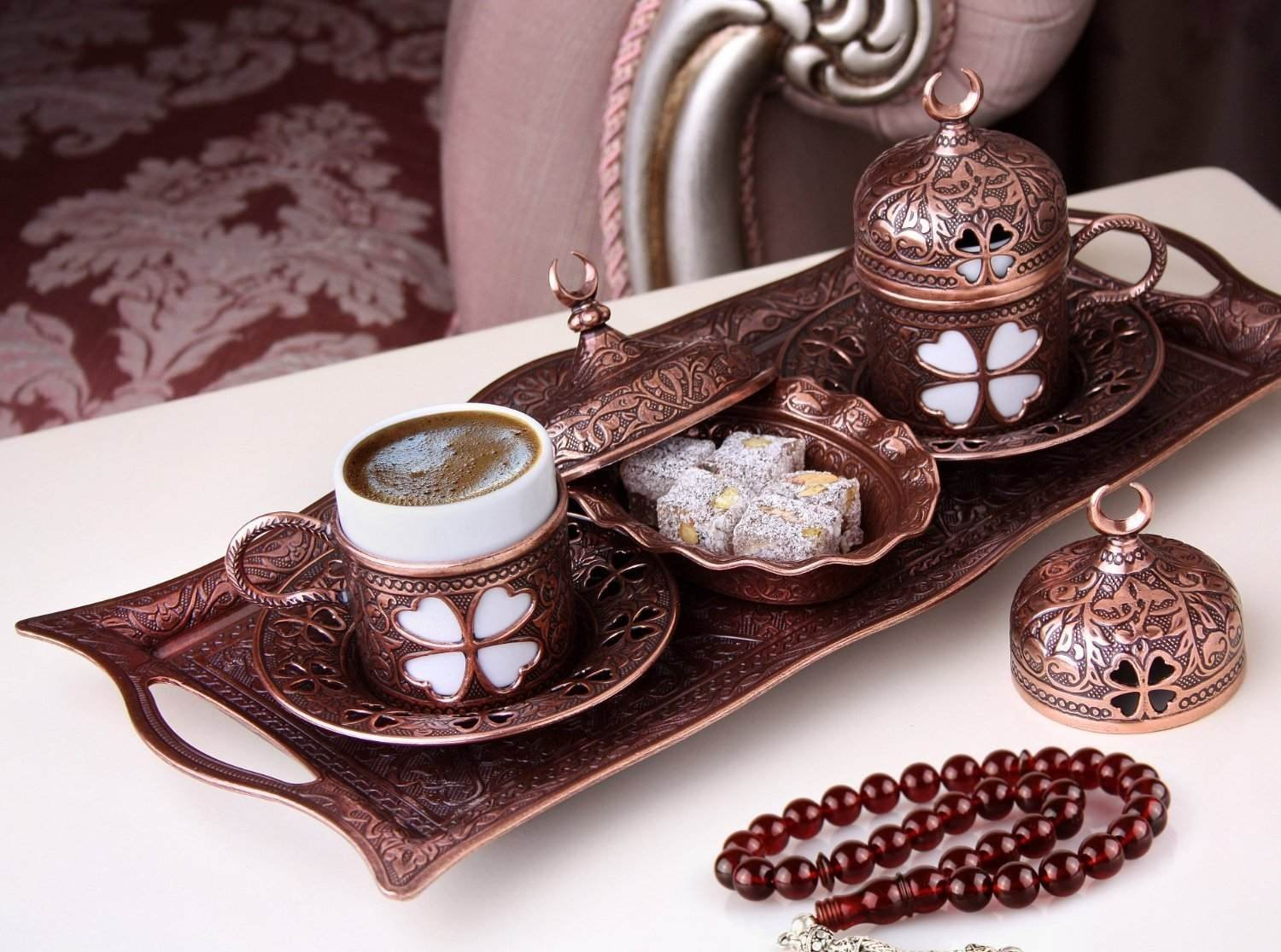 Premium Turkish Greek Arabic Coffee Espresso Serving Set for 2,Cups Saucers Lids Tray Delight Sugar Dish 11pc (Antique Brown) by CopperBull (Image #2)