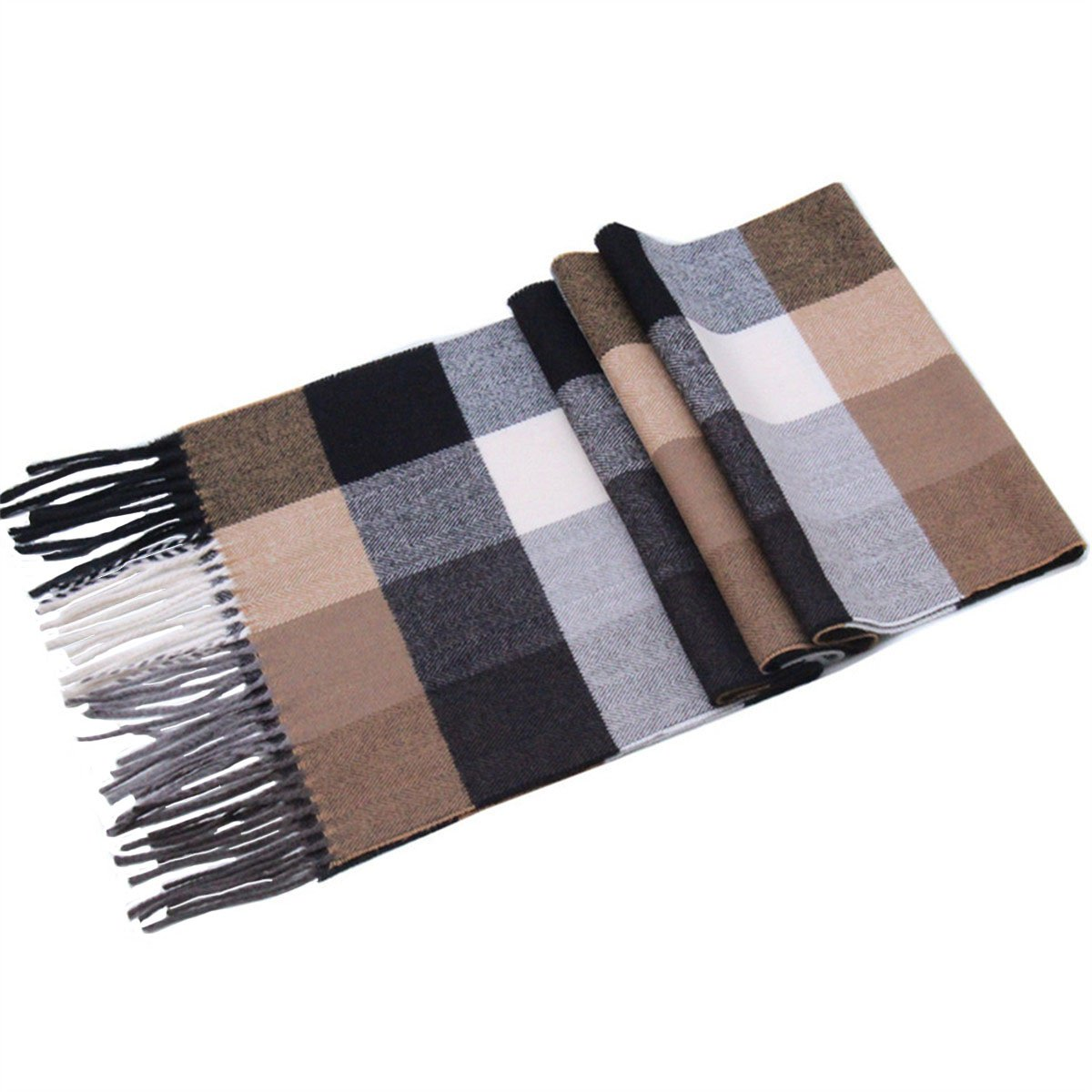 Lucky Leaf Women Men Winter Cozy 100% Wool Warm Tartan Checked Plaid Wrap Scarf (Black Coffee Plaid)