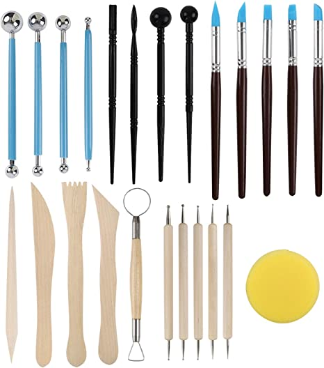 5 Rubber Clay Modelling Tools Storage Bag 4 Ball Stylus Tool 4 Plastic Pottery Tools Set Polymer Clay Tools Set,18PCs Modelling Clay /& Pottery Clay Sculpting Tools,5 Wooden Dotting Tools