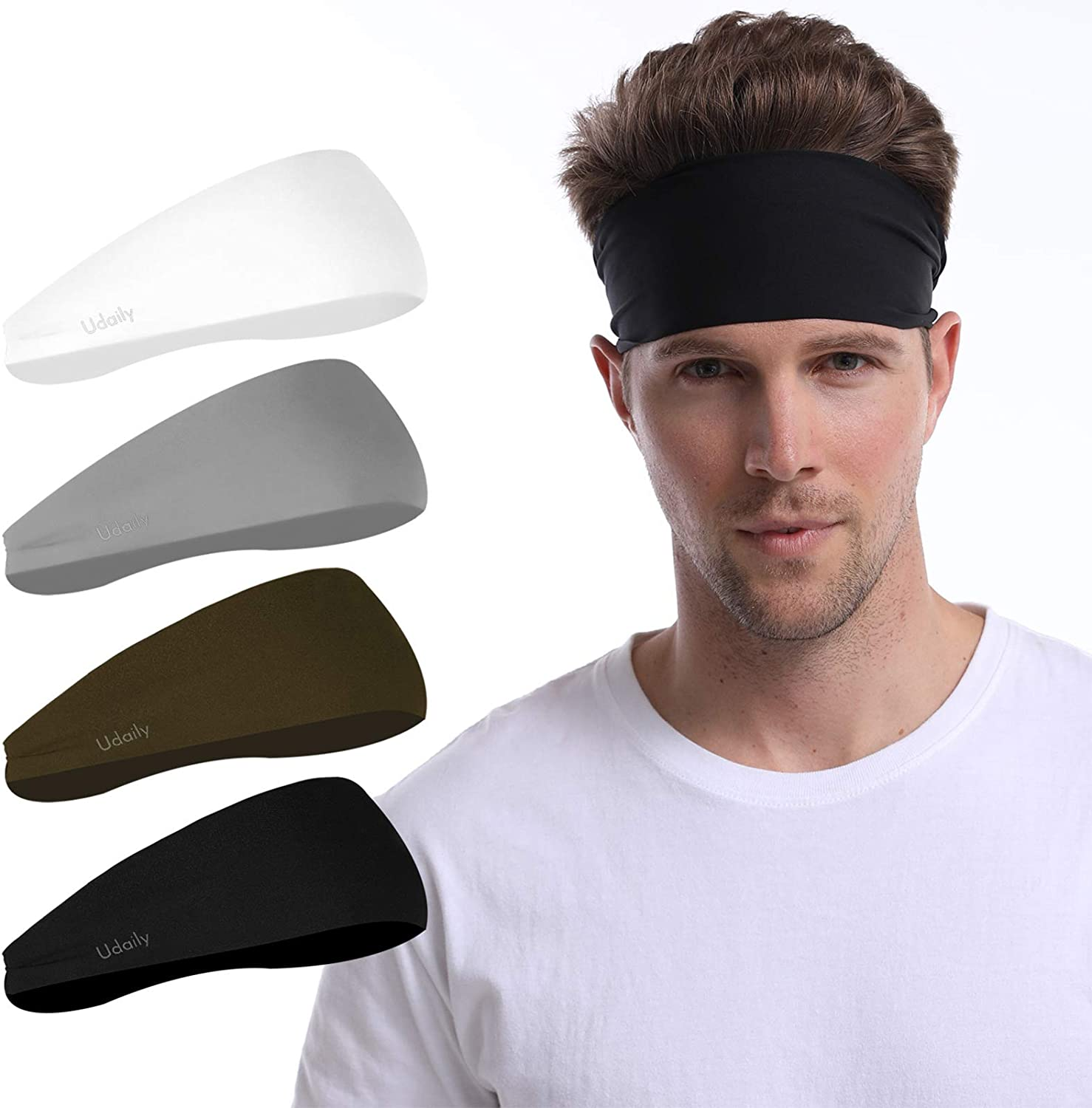 Udaily 4 Pack Mens Headband, Sports Headbands for Men and Women, Mens Sweatband for Workout, Running, Hiking, Yoga, Basketball, Cycling, Elastic Sweat Wicking, Non Slip, Helmet Friendly Hairband: Clothing