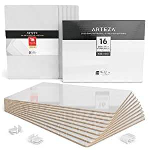 ARTEZA Small White Board, Bulk Set of 16 Double Sided Dry Erase Lapboards 9x12 in Perfect for Teachers, Students, and Office Work